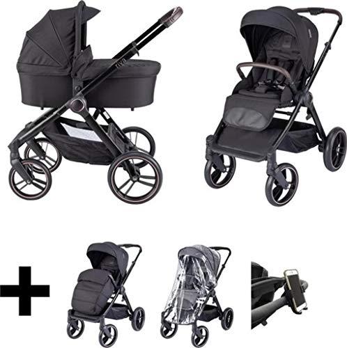 Born Lucky Kinderwagen/Babywanne/Buggy 2 in 1/Kinderwagen Set Riva - schwarz/rose (schwarz)