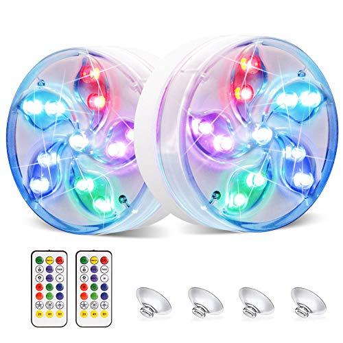 Coquimbo Luces LED Sumergibles, 2 Pcs Luz de Piscina Impermeable con Imán, Control Remoto RF, Ventosa para Acuario, Piscina, Estanque, Bodas, Fiesta Jardín