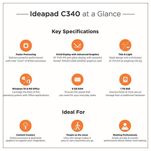 Lenovo Ideapad C340 8th Gen Intel Core i3 14 inch FHD 2 in 1 Convertible Laptop (8GB/1TB SSD/Windows 10/MS Office/2GB NVIDIA MX250 Graphics/Platinum/1.65Kg), 81N400JLIN