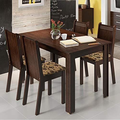 Conjunto Mesa de Jantar com 4 Cadeiras Tabaco-floral Rosie Madesa