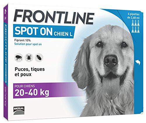 FRONTLINE Spot-on Chien - Anti-puces et anti-tiques pour chien - 20-40kg - 6 pipettes