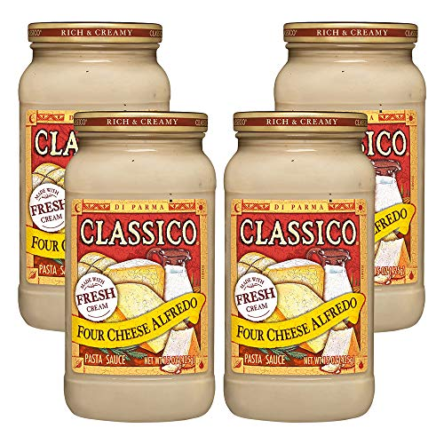 (4 Pack) Classico Four Cheese Alfredo Pasta Sauce, 15 oz Jar