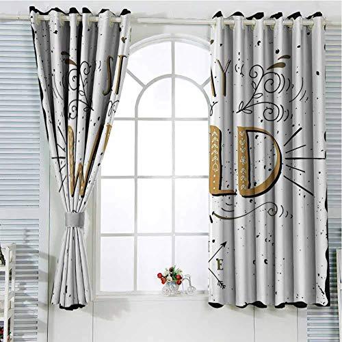 Cortinas con ojales, color marrón claro, negro y blanco, de Hello Loleon, 72 x 213 cm, con texto en…