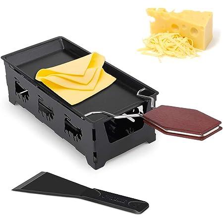 Mini Gril au Fromage, Mini Raclette Set, Set à Raclette Portable, Machine à raclette Portable avec spatule et poignée Pliable, Faite Fondre Votre Fromage Rapidement (Noir)