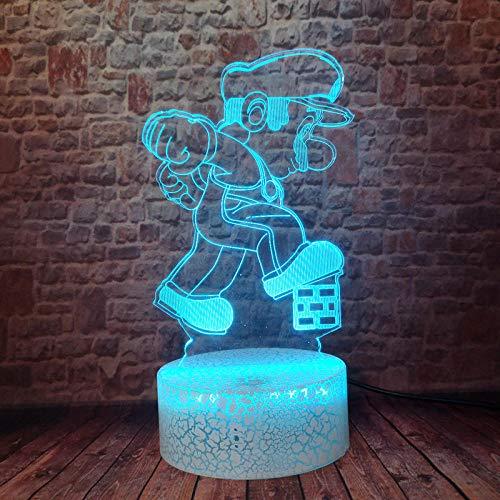 Lampara De Ilusion 3D Led Luz De Noche Flash Mario Bros Figura De Juego Modelo Lampara De Escritorio Colorido Cambio Super Mario Anime Figma Juguetes Para Cumpleanos De Ninos O Regalos De Vacaciones