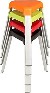 Norwood Commercial Furniture 3-Leg Plastic Stack Stools w/ Aluminum Legs, Red/Orange/Green/Black, NOR-OAH1000AC (Pack of 4)