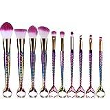 Juego de 10 brochas de maquillaje gruesas y suaves para principiantes, para base, herramientas de belleza