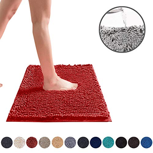 DEARTOWN Non-Slip Shaggy Bathroom Rug,Soft Microfibers Chenille Bath Mat with Water Absorbent, Machine Washable(Red,24X39 Inches)
