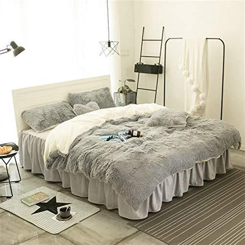 ESUHUANG Purple Gray White Blue Pink Warm Mink Velvet Bedding Set Soft Berber Fleece Duvet Cover Flannel Bed Sheet Bed Skirt Pillowcases (Color : 8, Size : Heart shaped pillow)
