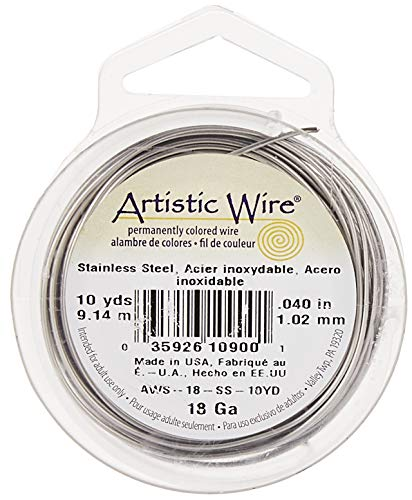 Beadalon AWS-18-SS-10YD 18 Gauge Artistic Wire, Stainless Steel, 10-Yard, Shiny Steel, 1 Pack