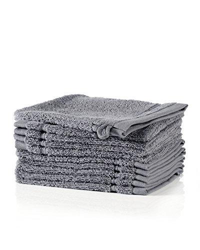 myHomery Waschlappen - Waschhandschuh aus Baumwolle Made IN EU - 10er-Set Wasch Lappen - Waschtuch für Gesicht und Körper - Lappen zum Waschen für Badezimmer und Dusche Anthrazit | 10er-Set