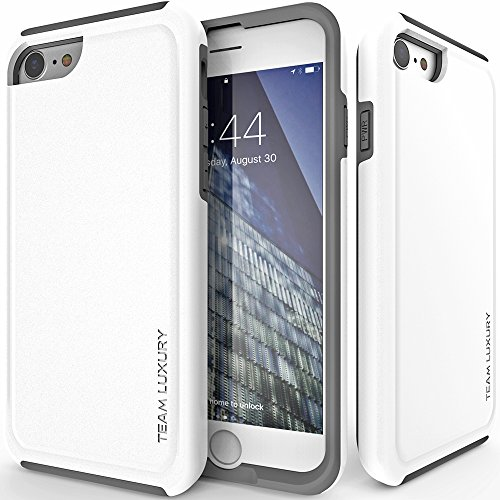 TEAM LUXURY iPhone SE 2020 Case, iPhone 7 Case, iPhone 8 Case, Ultra Defender [Shock Absorbent] Protective Phone Case [2nd Generation] (4.7') - (Cotton White/Gray)