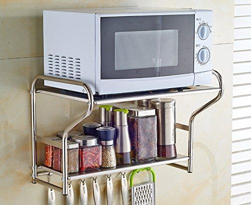 Xuping shop Estante de acero inoxidable 201 para horno de microondas y condimento, estante de cocina, colgante de pared, estantes de almacenamiento (color: A, tamaño: 58 cm)