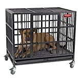 A heavy duty metal dog crate on wheels with dog laying in it