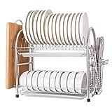 Estante de Almacenamiento de Cocina Multifuncional Estante para Platos Soporte para Utensilios Cocina Grande Escurridor de Platos de 2 Niveles para Platos Bloque de Picar Cuchillo y Tenedor Acero in