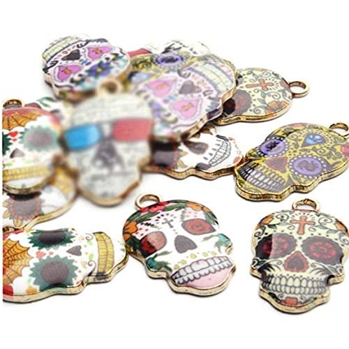 Froiny Crâne De Fleur Plaqué Or 100 Pièces Pendentif Halloween pour Accessoires De Bijoux De