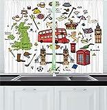 Cortinas de cocina de viaje, lugares turísticos famosos dibujados a mano Big Ben Londres Reino Unido Ilustración de monumentos británicos, cortina de 2 paneles para dormitorio, sala de estar multicolo