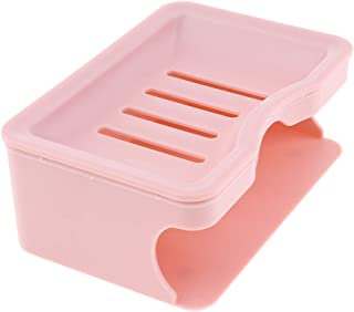 D DOLITY Soap Saver Dish Tray Case Container Holder with Drainage Grid, Bottom Part for Storage Sponges, Scrubbers - Pink