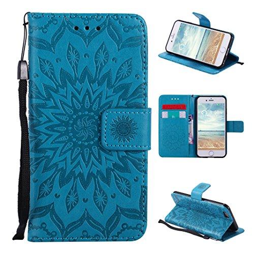 Asnlove Premium Ledertasche im Ständer Book Case Brieftasche Flip Case Cover Schutzhülle mit Kartenfach Magnetverschluss und Standfunktion für iPhone 6/6S Design Mandala