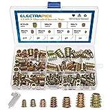 ELECTRAPICK-135Pz Dado esagonale in acciaio al carbonio zincato,Inserto per cava esagonale in lega, set per mobili in legno con inserto filettato, 7 misure (M4, M5, M6, M8, M10)