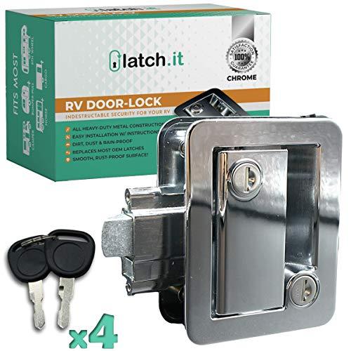 LATCH.IT Chrome RV Door Latch | RV Door Locks for Travel Trailers | Travel Trailer Door Latch | 100% Metal Camper Door Lock w/ 4 Camper Keys | Trailer Door Lock is Easy-to-Install & Fits Most!