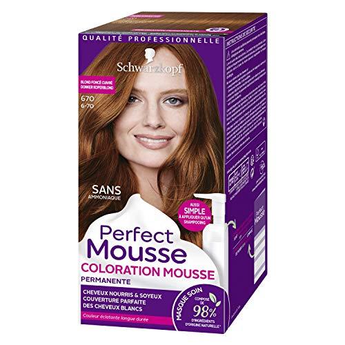 Schwarzkopf - Perfect Mousse - Coloration Cheveux - Mousse Permanente sans Ammoniaque - 98 % d'ingrédients d'origine naturelle - Blond Foncé cuivré 670
