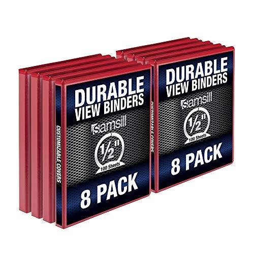 Samsill Durable .5 Inch Binder Red Round Ring Binder / Customizable Clear View Binder / Bulk Binder 8 Pack / 3 Ring Red Binder / Half Inch Binder