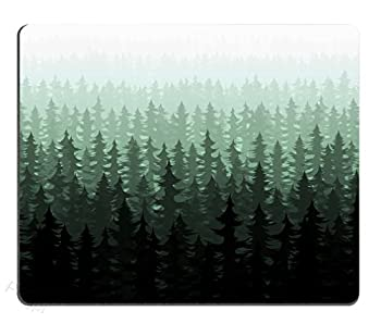 Pingpi Nature Forest Landscape Mouse Pad for Office Watercolor Pine Trees Personalized Design Non-Slip Rubber Mouse pad