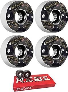 Bones Wheels 52mm ATF Mini DV's White Skateboard Wheels - 80a with Bones Bearings - 8mm Bones Super Reds Skate Rated Skateboard Bearings (8) Pack - Bundle of 2 Items