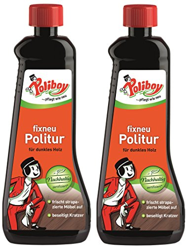 Poliboy - Fixneu Möbelpolitur Dunkel - für dunkle Oberflächen - beseitigt Kratzer und frischt auf! - 1000ml (2x500ml) - Made in Germany
