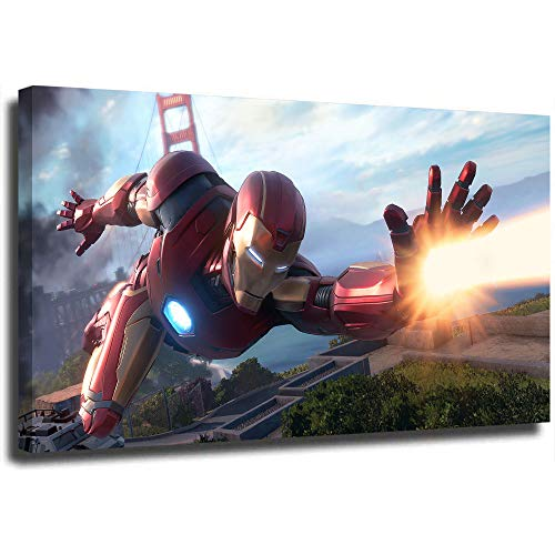 Ghychk Iron Man Canvas Print Paintings Premium Canvas Wall Art Framed Ready to Hang for Living Room Modern Home Wall Decor 24 x 36 Inch