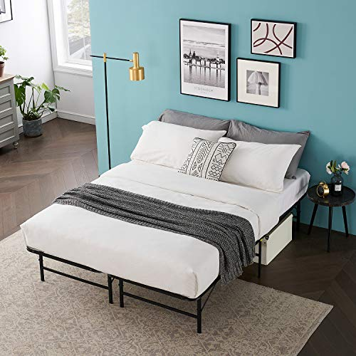 VECELO 14 Inch Metal Bed Frame, Tool Assembly/Quiet Noise Free/Box Spring Replacement Black (Queen), Foldable Platform