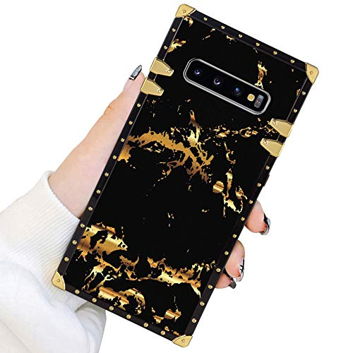 Square Case Compatible Samsung Galaxy S10 Plus Gold Black Marble Luxury Elegant Soft TPU Full Body Shockproof Protective Case Metal Decoration Corner Back Cover Galaxy S10+ Case 6.4 Inch