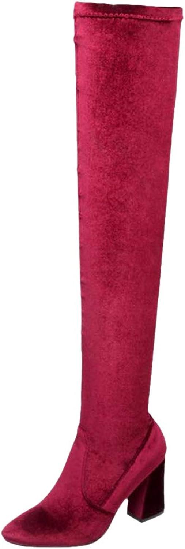 AicciAizzi Women Block Heel Over The Knee Boots
