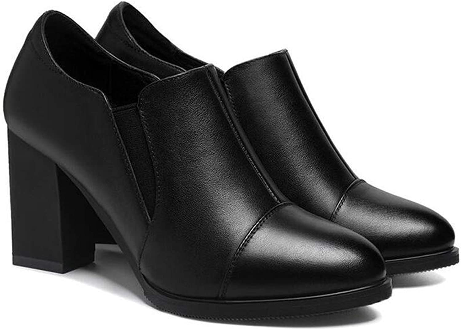 Yiwu Ms Small Leather shoes 2019 Autumn And Winter Female shoes Mid Heel Single shoes Thick Heel Career Jobs High Heels Black (color   Black, Size   EU39 UK6.5 CN40)