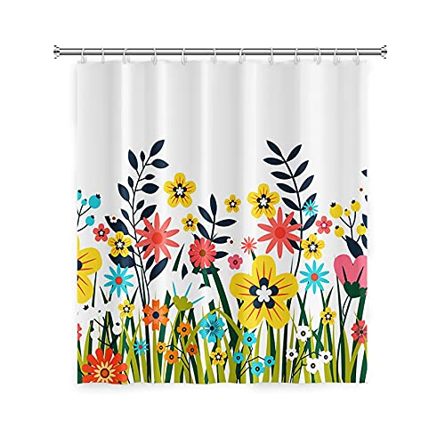 """Floral Shower Curtain, Colorful Flowers and Green Plants Pattern Curtain, Polyester Fabric Curtain Panel Machine Washable for Modern Bathroom Decor 71"""" x 71"""""""