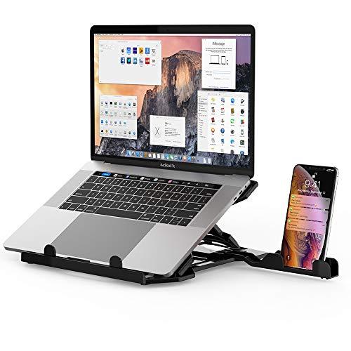Soporte para ordenador portátil, elevador ergonómico para ordenador portátil, compatible con ordenador portátil de 10 a 17 pulgadas (negro)