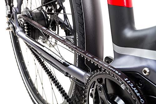 519gsNkJV0L - 28 Zoll TechniBike City Pedelec E Bike Riemen N330 Nabenschaltung Akku 70N Grau Rot Gr.L