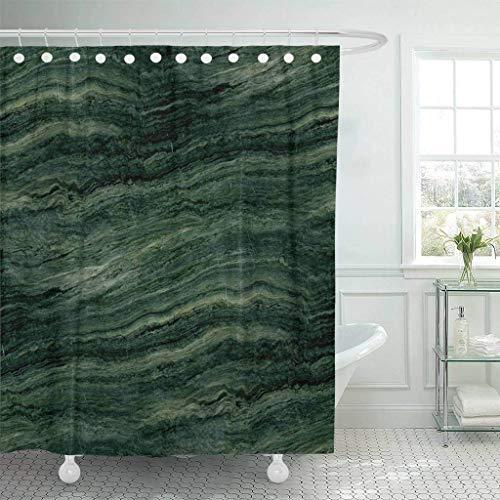 XZLWW Cortina de Ducha de Piedra de mármol Verde con Ganchos Abstractos Modernos de ágata Esmeralda de la Pared de Roca de ágata baño Decorado con Colores Brillantes 180x200CM A