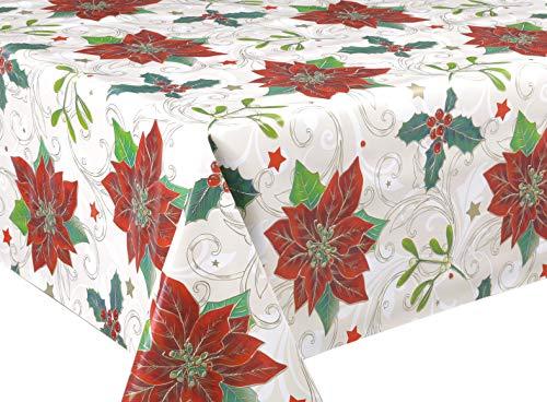 BEAUTEX Wachstuchtischdecke abwischbar Tischdecke RUND ECKIG, Weihnachten Motiv und Größe wählbar (Mistelzweig Beige Eckig 140x100 cm)