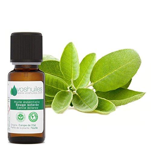 Huile Essentielle de Sauge Sclarée - 100% Pure et Naturelle - HEBBD - Relaxante et Apaisante - Idéal pour Diffuseur - Parfum Terreux - 10 ml - Aromathérapie - VOSHUILES