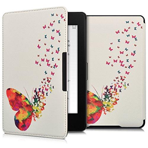 kwmobile Schutzhülle kompatibel mit Amazon Kindle Paperwhite - Hülle Kunstleder eReader (für Modelle bis 2017) - Schmetterling Schwarm Mehrfarbig Pink Weiß
