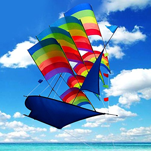 Tresbro Sailing Ship Kite Fly 37 inch, 3D Cool Huge China Kites for Kids and Adults, Awesome Rainbow Kites for Outdoor Travel Beach