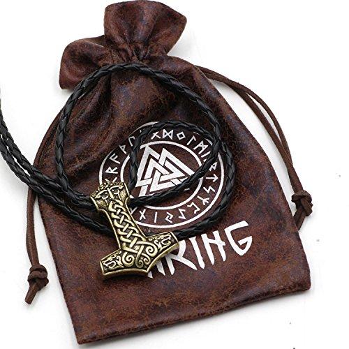 Collar vikingo con colgante Mjolnir, el martillo de Thor, con dos lobos, de acero inoxidable, bronce y cuero, estilo escandinavo