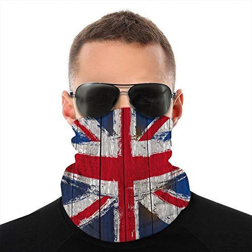 ncnhdnh Microfiber Balaclavas Soft Fleece Headwear Scarf Shield Cover Union Jack on Wooden Planks Protection Shield