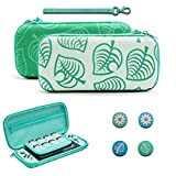 Portable Carrying Case for Nintendo Switch Lite Animal New Horizons New Leaf Design Durable Travel Pouch with 4 Extra New Horizons Thumb Grip Caps