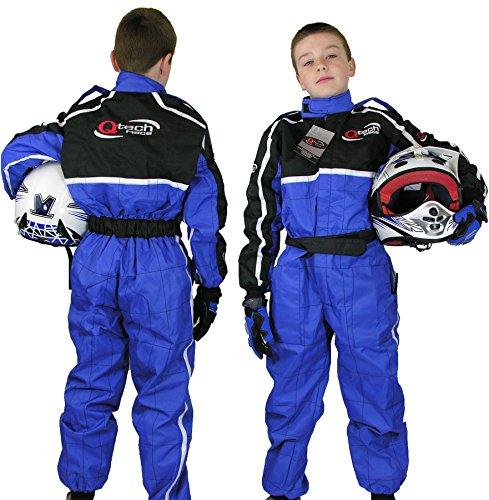 Qtech - Kinder Rennanzug für Gokart/Motocross/Dirt Bike - Blau - L