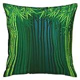 Exotic Square Funda de almohada estándar Tallos con hojas Tierras exóticas Fantasía Zen Jardín Ecología Tema Verde manzana Verde oscuro Azul Fundas de cojín Fundas de almohada para sofá Dormitorio Coc
