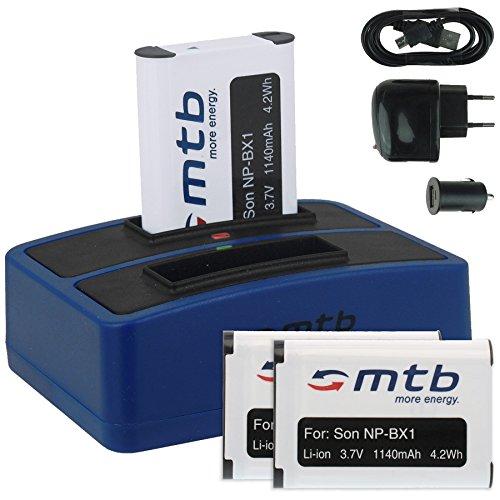 3X Baterías + Cargador Doble (USB/Coche/Corriente) para Sony NP-BX1 / Sony Action...