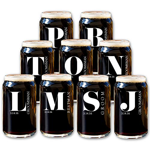 Groomsmen Beer Can Glasses (Set of 9) - Personalized Groomsman Glass for Wedding Party - Premium Customized Design Options - Custom Pint Drinking Cups for Grooms Men, Best Man - Engraved by Froolu
